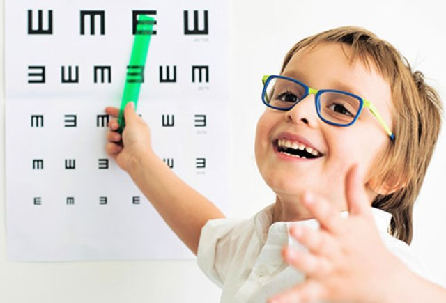 child with eye glasses